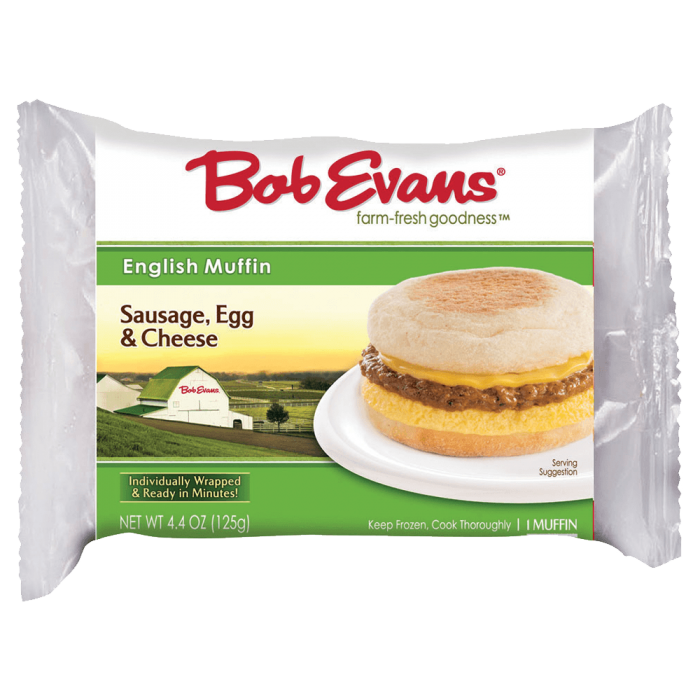 Bob Evans Frozen Sausage, Egg and Cheese English Muffin 4.4 oz