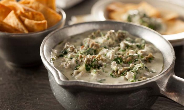 Garlic Herb Creamed Spinach Dip with Natural Sausage