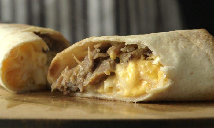 Pork Carnitas Mac N Cheese Chimichangas